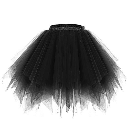 bridesmay Tutu Damenrock Tüllrock 50er Kurz Ballet Tanzkleid Unterkleid Cosplay Crinoline Petticoat für Rockabilly Kleid Black ()