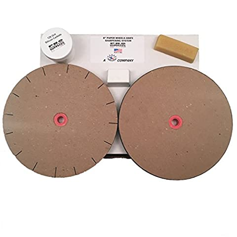 "Paper Wheels Sharpening System - 8"" Wheels for 6"" Grinders - Grit & Polishing Wheel + Wax, Compound, and Extra"