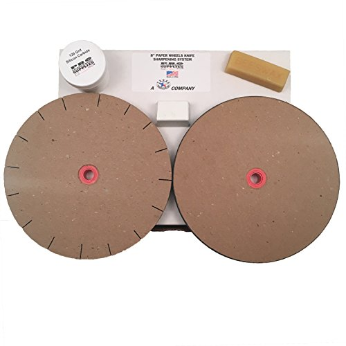 "Paper Wheels Sharpening System - 8"" Wheels for 6"" Grinders - Grit & Polishing Wheel + Wax, Compound, and Extra Grit Test"