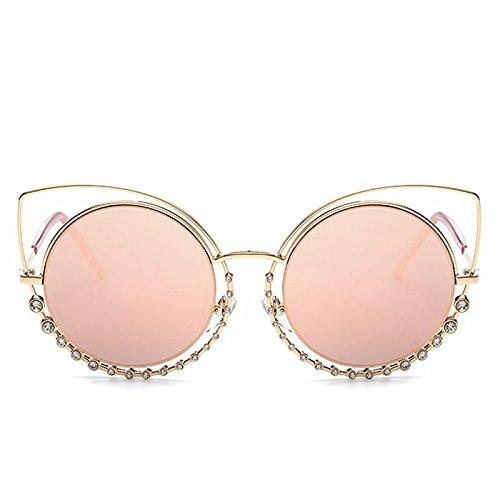 LBY Metall Sonnenbrille Weibliche Modelle Mit Diamanten Doppelring Cat Eye Sonnenbrille Sonnenbrille für Damen (Farbe : Pink)