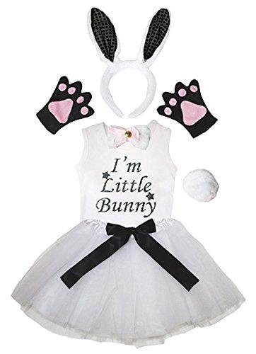 d Bowtie Schwanz Handschuhe Hemd Rock 6pc Mädchen-Kostüm 3-4 Yr Weiß Schwarz-Häschen ()