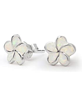 Flower Synthetic Opal Stud Earrings 925 Silver