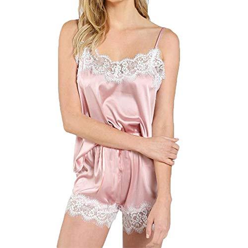 Cami Short Set (mounter- Damen Dessous Nachtwäsche-Set, sexy Satin, Spitzenbesatz, Nachtwäsche, Unterwäsche, Strap, Pyjama Sets Camis Tops Shorts Set Gr. Medium, Rose)