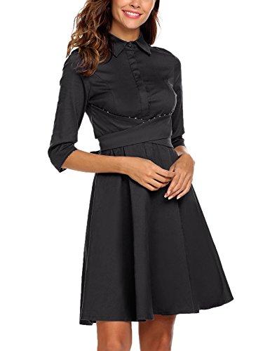 ACEVOG Damen Elegant Hemdkleid Abendkleid Cocktailkleid Umlegekragen 3/4 Arm Polka Dots Kontrastfarbe Herbst Winter Knielang A Linie Black