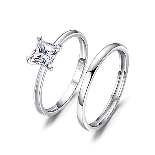 JewelryPalace Anillos de Compromiso Solitario Alianzas de boda Para mujeres Promesa Aniversario Conjuntos de novia Princesa Zirconia cúbica Plata de ley 925 Tamaño 14
