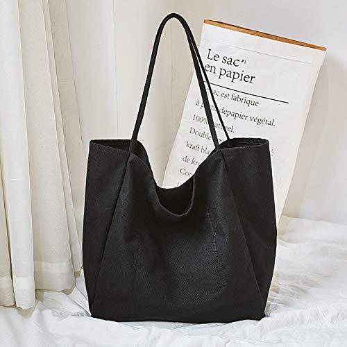 SHOUTIBAOBAO Handtasche Leinwand,Schwarze Frauen Leinwand Shopping Bag Wiederverwendbare Soild Extra Große Tote Grocery Bag Eco Umwelt Shopper Umhängetaschen Für Junge Mädchen -