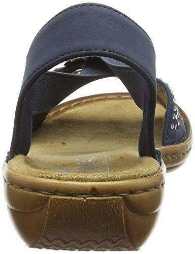 Rieker 60856-14, Sandales Plateforme femme Bleu - Bleu (Bleu)