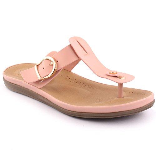 Unze Neue Frauen 'Bambi' Zehenpost Sommer Strand Schule Karneval Lässige flache Hausschuhe Schuhe UK Größe 3-8 - 11N188-A5 Pink