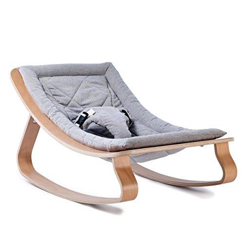 """Charlie Crane Babywippe Levo, ergonomische Babyschaukel in """"Sweet Grey"""" für einen sanften Schlaf, Babywiege von der Geburt bis zum Gewicht von 9kg geeignet, aus hochwertigem Buchenholz und Baumwolle"""