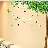 HWJ Stickers Muraux Chambre Adultes Arbre Vert Papillon Volant Au Début De L'Été...