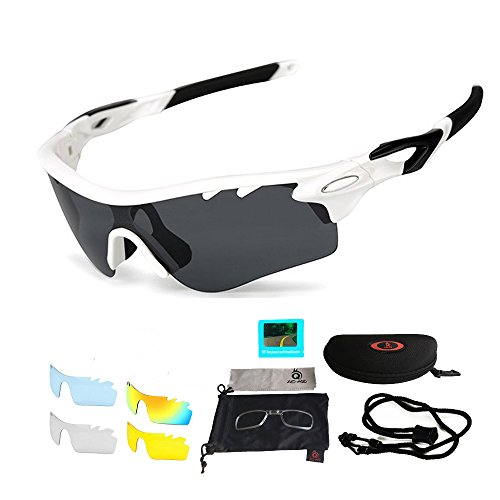 Sport Sonnenbrille Fahrradbrille Sportbrille mit UV400 5 Wechselgläser inkl Schwarze polarisierte Linse für Outdooraktivitäten wie Radfahren Laufen Klettern Autofahren Laufen Angeln Golf Unisex (Weiß)