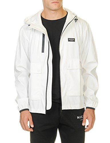 Nicce London Homme Logo court Mac Jacket, Blanc Blanc