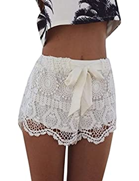 Luoluoluo Shorts Donna Estate, Donne Estate Elastico Vita Pizzo Crochet Spiaggia Mini Pantaloncini Hot Pants -...