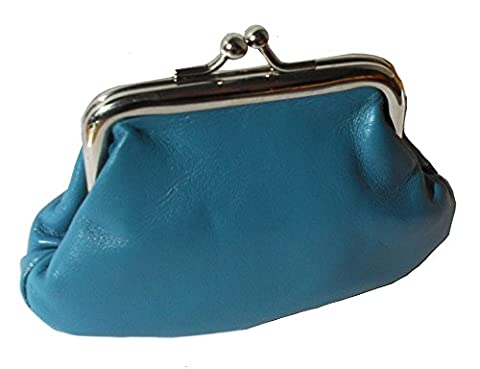 Clip Top Leather Pouch Coin Purse (Turquoise)