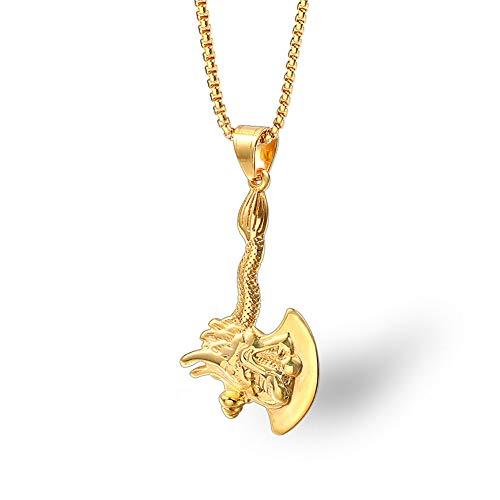YinXX Unisex Halskette Titan Stahl Drachen Streitaxt Gezeitenmarke Hiphop Männer/Frauen Schmuck Schmuckkette Ist 24 Zoll,Gold