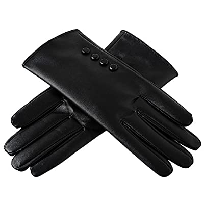 Leoie Women's PU Leather Screen Touch Winter Gloves (Black)