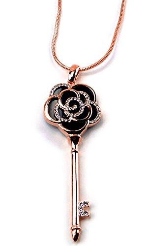 Edle Damenkette Kette Damen Strass Kette Rosen Schlüssel Kette mit Karabiner Verschluss Zirkonia Besatz in Rotgold Rose Rot Gold und Silber