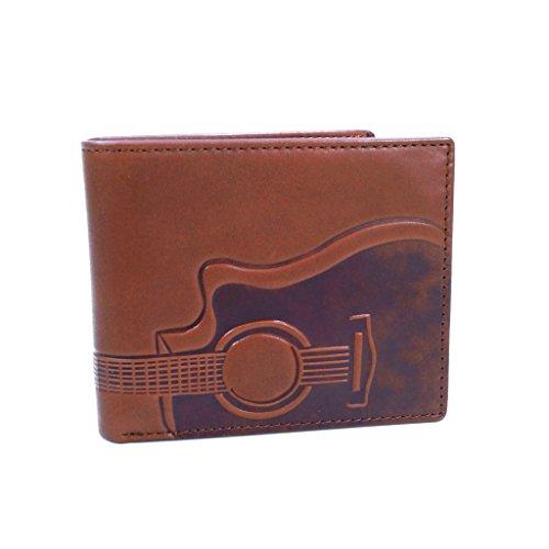 Fossil Geldbörse Nash RFID Large Pocket Bifold Braun Gitarre Motiv Herren Portemonnaie Leder Geldbeutel Brieftasche (Fossil Brieftasche Geprägte)
