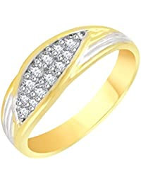 VK Jewels Decent Gold And Rhodium Plated Alloy CZ American Diamond Ring For Men [VKFR2640G]