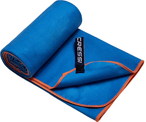 Cressi Microfibre Fast Drying Playa Toalla Sport, Adultos Unisex, Azul Claro/Naranja, 90x180