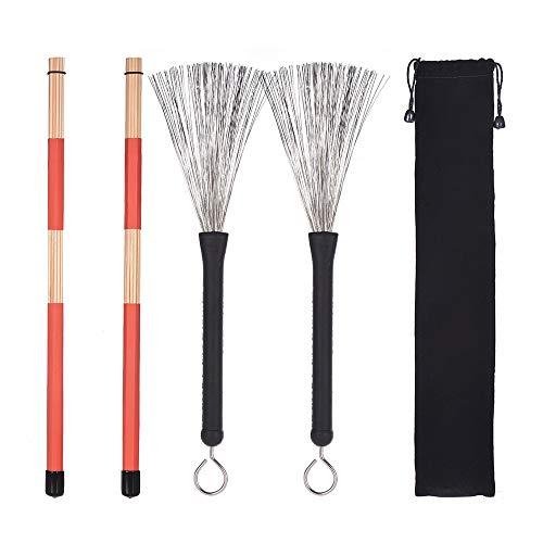 Muslady Drumsticks Set 1 Paar Drum Rods Stöcke + 1 Paar Trommelbürsten mit Aufbewahrungstasche zum Jazz Volk Musik