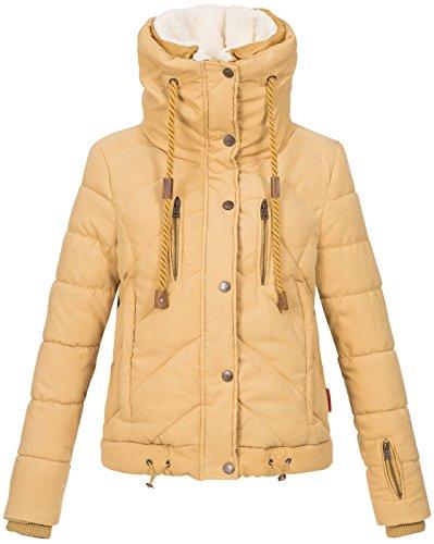 Navahoo Damen Designer Winter Jacke warme Winterjacke Steppjacke Teddyfell B605 Camel