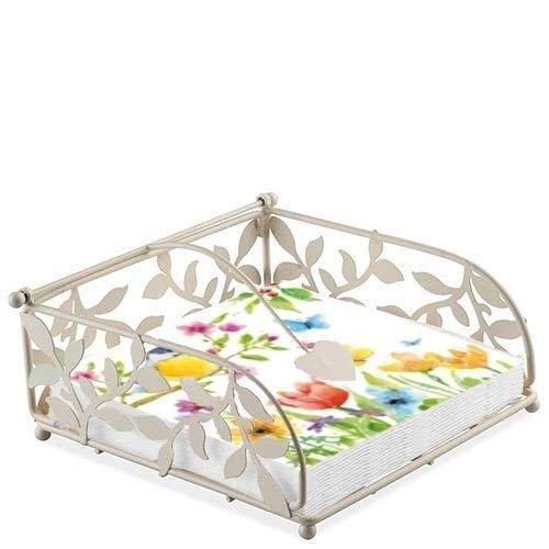 Vogel Schmetterling Blume Zweig 20 x 3-lagige Papierservietten & Blumenmuster Serviettenhalter Set - Serviettenhalter Vögel