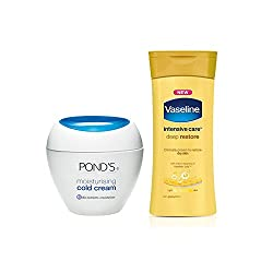 PONDS Moisturising Cold Cream, 55ml with Free Vaseline Intensive Care Deep Restore Body Lotion, 20ml