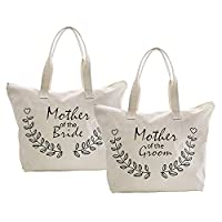 ElegantPark Mother of Bride+Groom Tote Bag Zip Wedding Party Ideas Gift 100% Cotton 2 Set