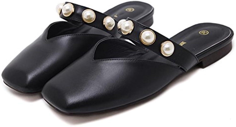 Baotou pistoni casuali sandali flat estate femminile perla usura esterna pedalare un pigro mezzo pantofole , nero...   Design Accattivante    Uomini/Donne Scarpa