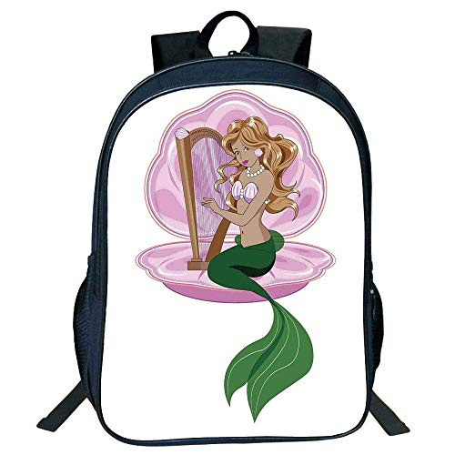 a6193aa0a3d7 HOJJP Schultasche Suitable for Primary School Backpack,Mermaid,rmaid with  Blonde Hair Playing Harp Fairy Tale Romance Art Illustration,Pink Green,for  ...
