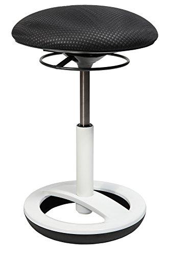Topstar Sitness Bob, ergonomischer Sitzhocker, Arbeitshocker, Bürohocker mit Schwingeffekt, Sitzhöhenverstellung, Standfußring Alu, weiß lackiert, Stoffbezug, schwarz