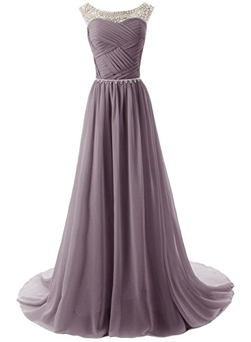 Azbro Women's Sleeveless Floor Length Evening Prom Wedding Dress Light Purple