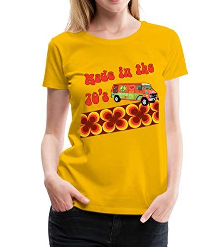 Made in The 70's Retro Siebziger Frauen Premium T-Shirt, M (38), Sonnengelb (1970er-shirt)