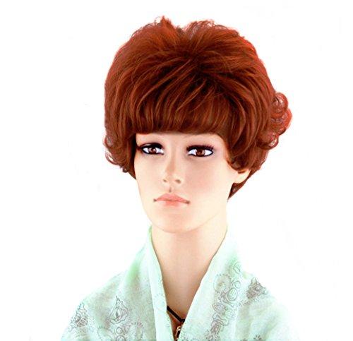 Courte bouclée Cosplay Perruques pour les femmes Full Head Hair Extension Fashion Orange Dark Rouge Cosplay Party Perruques avec Pony + Gratuit perruque de vie et peigne sxd0365