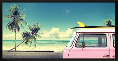 Culturenik VW VOLKWAGEN Surfer Pink Kombi Van Vintage Auto Beach Sport Fotografie Poster Print, Rosa, Gelb, 12 by 24 Framed