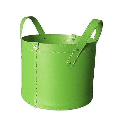 CONTENITORE TN: Coffre de Rangement en cuir régénéré (pas Faux cuir) de couleur Vert, doté de roues gommées.