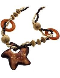 HuntGold Collar de cadena Pentagram Colgante Diseño Rosario suéter Madera