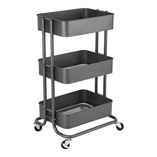 Estink Metal Servierwagen, 3-Etagen Rollwagen Allzweckwagen Metall mit Körben Küchenwagen mit Bremse für Küche, Büro, Garten (Eisengrau) -