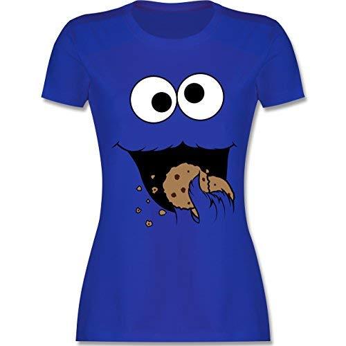 Karneval & Fasching - Keks-Monster - M - Royalblau - L191 - Damen T-Shirt Rundhals