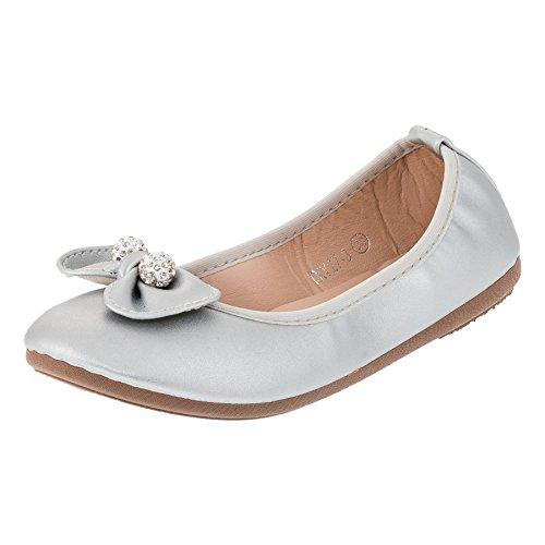 Festliche Kinder Mädchen Ballerinas Schuhe in vielen Farben für Partys und Freizeit M287si Silber...