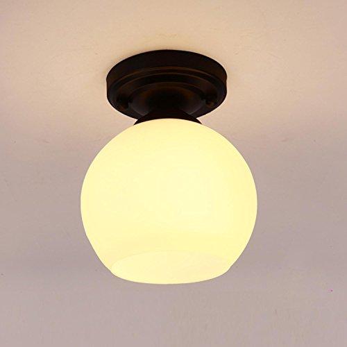 GRFH Kreativer amerikanischer Korridor, einzelne Kopf kleine Deckenlampe, kreisförmige moderne Eisenkunst, Balkon-Deckenlampe, E27, 110V-220V