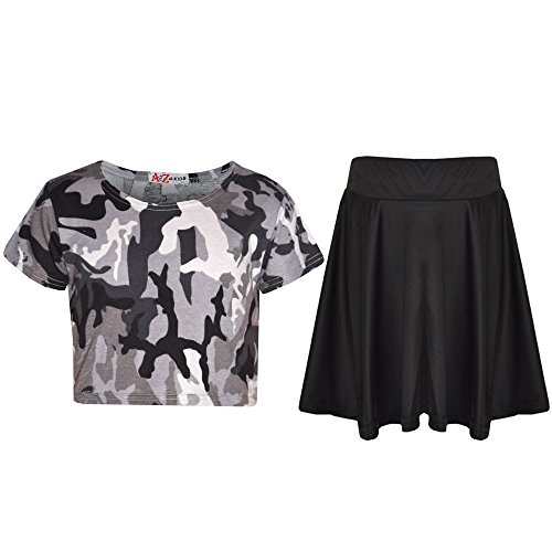 A2Z 4 Kids® Kinder Mädchen Top & Rock Satz - A2Z Camo Charcoal Crop & Rock 11-12 -