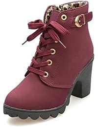 Zapatos de mujer Botines Zapatos casuales de mujer Martín Botas Señoras Moda Otoño invierno Tacón alto Lace Up Hebilla Plataforma Zapatos LMMVP
