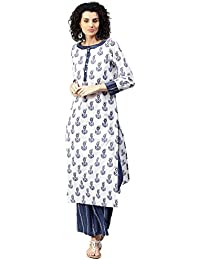 Jaipur Kurti Women White & Blue Booti Print Cotton Kurta & Palazzo