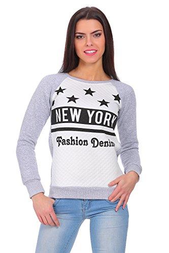 FUTURO FASHION - Sweat-shirt - Blouson - À logo - Col Chemise Classique - Femme blanc blanc Blanc