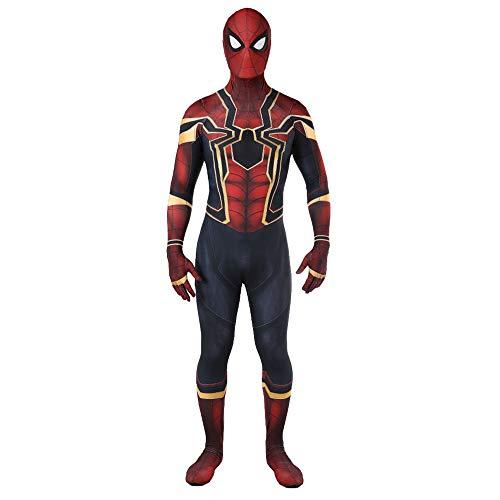 (GBRALX Kostüme Heimkehr Rächer Spiderman Kostüm Halloween Party Requisiten Kampfanzug Overall Bodysuit Rollenspiel Kostüm,Red-M(Bust83-93CM))