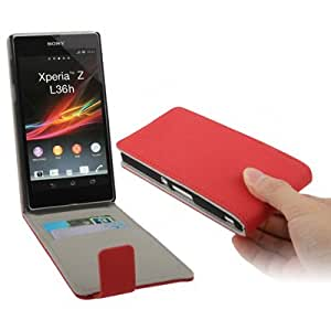 Trendz Gravel Texture Vertical Flip Leather Case With Credit Card Slot For Sony Xperia Z / L36H / Yuga C6603 (Red)