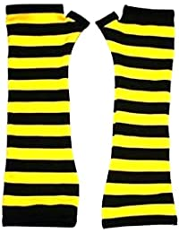 Bumble Bee Yellow And Black Stripes Gloves Fancy Dress Party Rave