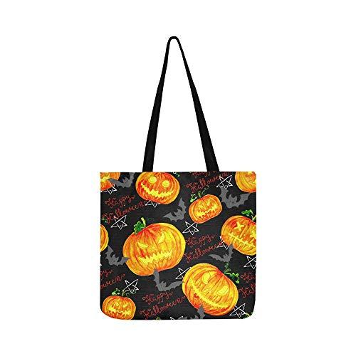 Halloween Kürbisse Fledermäuse Schriftzug Leinwand Tote Handtasche Umhängetasche Crossbody Taschen Geldbörsen Für Männer Und Frauen Einkaufstasche
